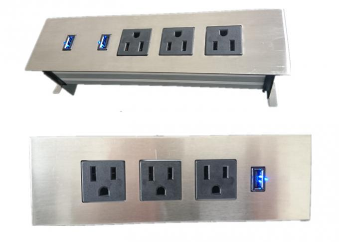 Beau 3 Outlets Furniture Power Strip , Embedded Tabletop Desktop Power Sockets