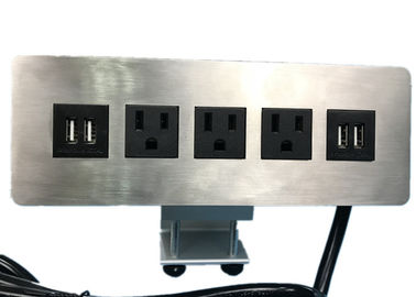 Edge Mount Desktop Power Outlet With USB 4 Port ,3 Outlet Power / Data Distribution Unit