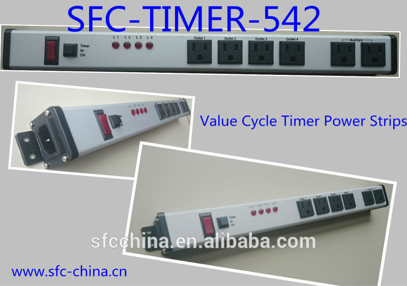 Value Cycle Timer Electrical Outlet , Metal Power Strip With Timer / On Off Switch