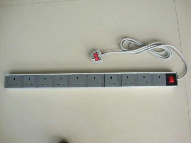 UK Power Distribution Units and Extension Cords , 10 Jack Power Outlet Strip with Switch