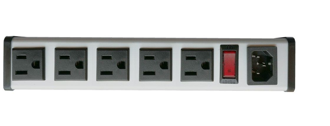 "SFC-IEC-A1B series 5 to 14"" 15Amp  metal Hardwired Power Strip with 5Outlets"