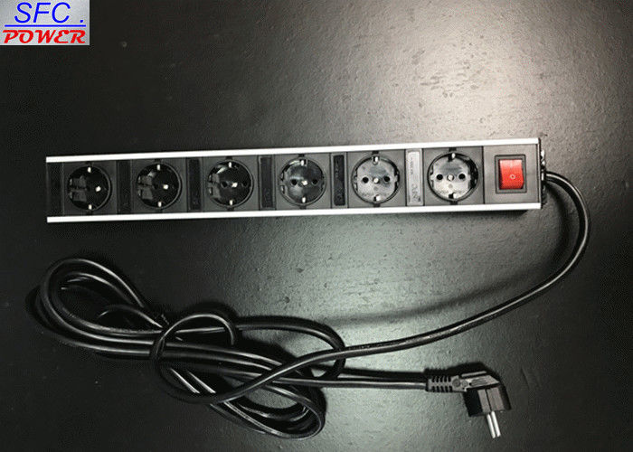 Metal Shell 6 Outlet European Power Strip Germany Socket Power Bar