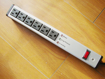 China Metal 6 Outlet Surge Protector Power Strip , Mountable Multiple Plug Socket factory