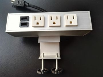 Desk Mounted Power Sockets Electrical Outlet , Metal Tabletop Power Bar Receptacle