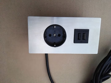 5v 2.1A Embedded Tabletop Furniture Power Outlet With Single EU Plug / Dual USB Charging