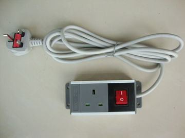 Portable UK 1 Way Universal Power Strip With Surge Protector / Long Cord