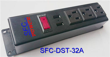 China 3 Socket Power Strip With USB Charger , Multi Function Multiple Power Outlet factory