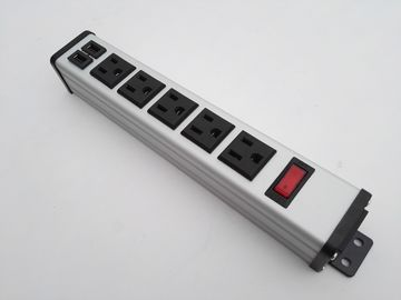 Desktop 5 Flat Plug Power Strip With USB Charger , 5 Socket Power Bar 5v 2.4A / 1A