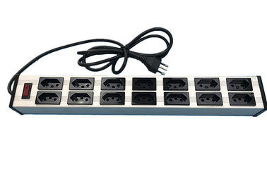 "China Electrical 14 Way 19"" Brazil Multi Socket Extension Cord With Switch 10 Amp 250V factory"