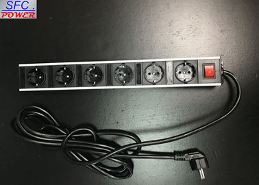 China Metal Shell 6 Outlet European Power Strip Germany Socket Power Bar factory